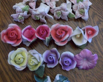 Lot of China Flowers Embellishments for Mosaics Birdhouses Roses Lilys Craft Supplies
