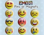 Emoticon Emoji Magnets or Buttons Pins (Set of 10) Smiley Faces