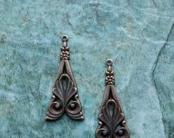 Chandelier earrings jewelry findings Vintage Victorian Antique gold Ornate Tri-Angle Drop Jewelry Findings