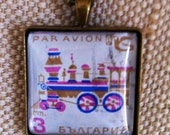 Retro steam train stamp necklace / Vintage upcycled Bulgarian stamp pendant / bronze tone square pendant