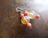 Peachy Glass and Lucite Beaded earrings