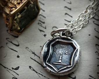 Delusion Wax Seal Necklace - Moth - like a moth to a flame, I am attracted to you - Temptation - Idiom Jewelry - E2235