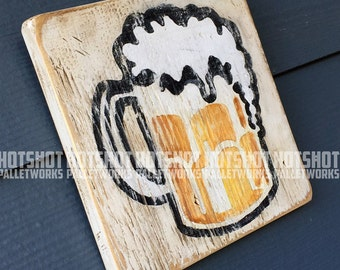 Beer Mug, Beer, Brew, Scoreboard style, Vintage-looking upcycled wood sign, hand made, hand painted