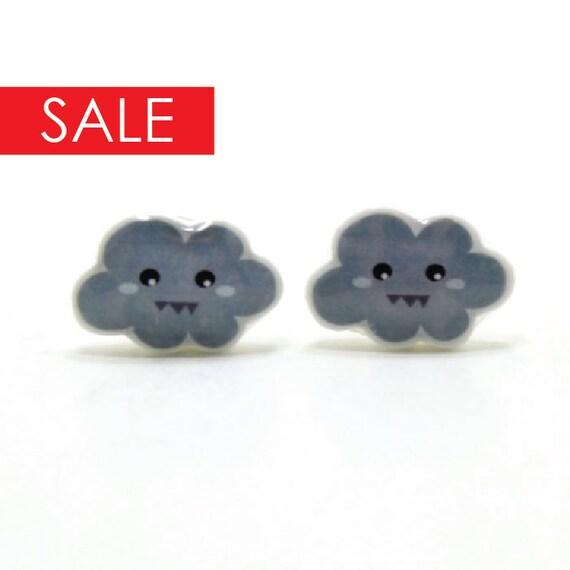 SALE 15% OFF Stormy Cloud Earrings - Grey Sterling Silver Posts Studs Kawaii Cute