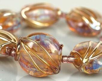 Golden 21mm button lampwork glass beads,lampwork glass beads,lampwork beads SRA set of 6 made by pearly karpel MTO