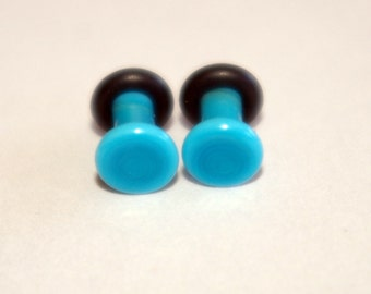 10g turquoise blue Glass Plugs Body Jewelry 10 Gauge 2.5mm Piercing