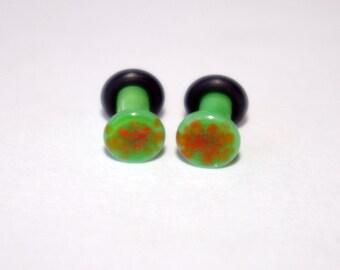 8g Green and Orange Pattern Glass ear plugs body JEWELRY 3mm handmade 8 gauge