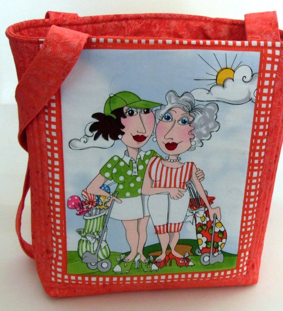 Quilted Golf Purse, Two Ladies Golfing Bag, Loralie Designs Golfing Bag, Coral Colored Golf Themed Bag, OOAK Golfing Bag, Handmade Golf Bag