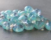 Czech Glass Bead 4x7mm Laguna Sea Opal Faceted Rondelle : LAST 20 pc Sea Green Gemstone Cut Donut