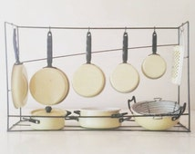 Miniature enamelware cookware hanging kitchen set 10 pc children's doll accessory circa 1960