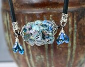 Glass Pendant - Gemstone Pendant - Glass Lampwork Necklace - Wire Wrapped Necklace