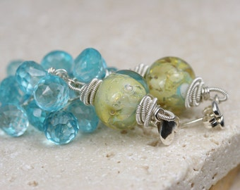 Lampwork Earrings - Earrings - Gemstone Earrings - Wire Wrapped Earrings - Dangle Earrings - Artisan Earrings - Cluster Earrings - Blue