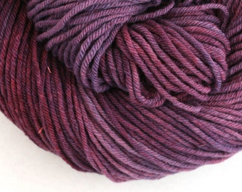 Hand Dyed Aran weight mini Empire Rambouillet Wool 213 yds 4oz Deepest Petunia