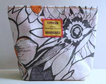 Snack Pack - Gray & Orange Floral - Reusable - Laminate - Zip Lock - Gift - Holiday - Christmas