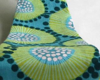 Women's Headbands, Wide, Funky Blue & Green Motif Print