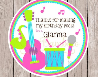 Music Birthday Party Favor Tags or Stickers / Pink, Purple, Blue and Lime Green Stickers with Musical Instruments / Set of 12
