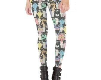 Nerdy Cats Leggings Made in USA