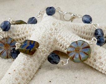 Beaded Jewelry - Glass Beaded Bracelet - Womens Bead Bracelet - Beaded Chain Bracelet - Bead and Chain Bracelet - Montana Blue Series