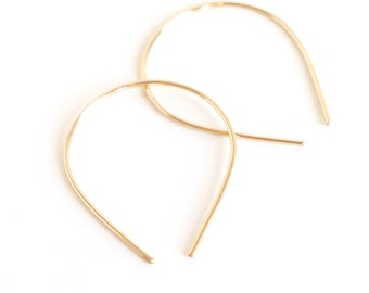Tiny Gold Hoops, Delicate Hoops, Minimal Curved Hoop, Dainty Goldfill Hoops, Hypoallergenic Earrings - Slip Hoops