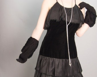 1980s tiered black dress 80s does the 20s size small Vintage flapper dress ruffled sleeveless