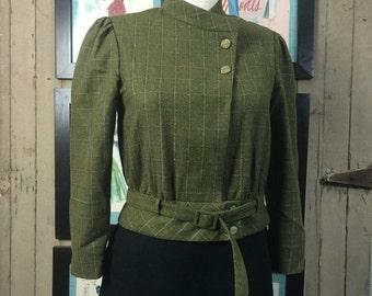 Fall sale 1980s jacket wool jacket cropped blazer size medium green jacket plaid jacket Vintage jacket wool jacket