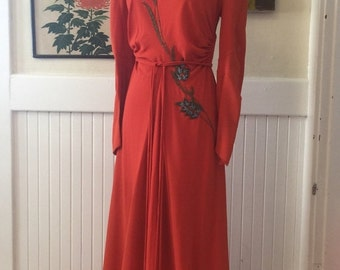 Fall sale 1930s gown beaded gown old hollywood size small medium vintage dress 1930s dress formal gown