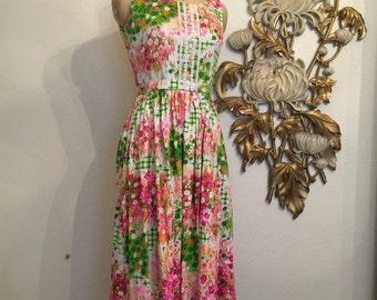 Fall sale 1960s dress maxi dress beaumart dress floral dress sleeveless dress vintage dress 60s sundress size small