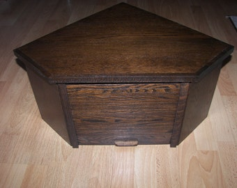 Oak Corner Bread Box with Espresso Finish and Roll Up Door