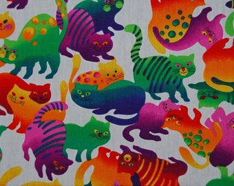 Novelty cat FABRIC Felines fabric Rainbow tie dye Cats quilt fabric
