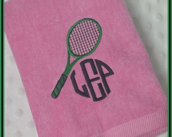 Personalized Tennis Racket Sweat Towel with Racket and Circle Monogram
