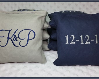 Cornhole Bags Embroidered Set of 8 Navy and Light Gray Montey Font Wedding