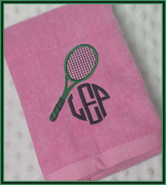 Personalized Tennis Racket Sweat Towel With Racket And Circle