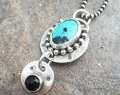 RESERVED - 25% OFF - Turquoise Onyx Sterling Silver Bold Statement Necklace