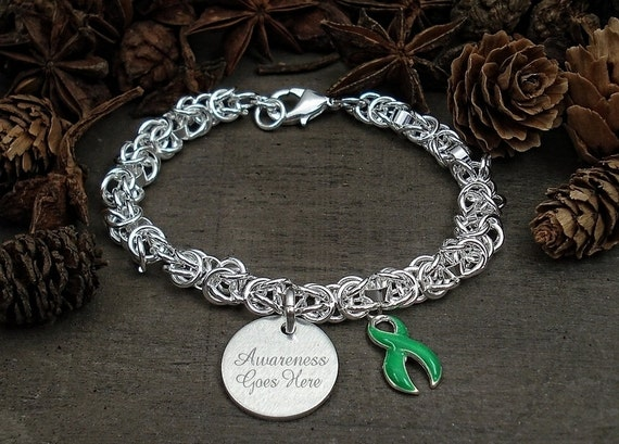Adjustable Green Ribbon Charm Bracelet Kidney Disease Awareness