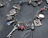 Valentine necklace key necklace Valentine jewelry heart necklace heart charm necklace Valentine gift for her gemstone artisan necklace long