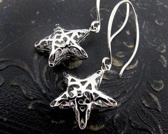 star earrings, silver star earrings, gold star earrings, gift for girlfriend, celestial gift, astronomy gift, star jewelry, Holiday jewelry