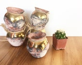 Hanging Planters, Vintage Mini Plant Pots Set. Clay Pottery with Brass and Copper. Southwestern Santa Fe Style.