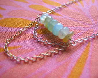 Peruvian Opal Necklace - Sterling Silver Gold Filled Chains Simple Pretty Dainty Ecletic Bohemian Gift Birthday Wife Cousin Daughter Mother