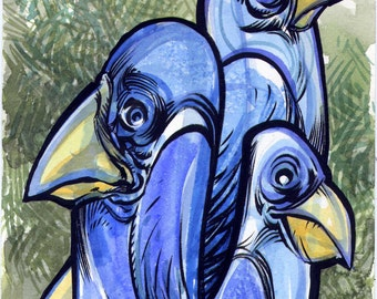4 Blue Birdoliths original ink and watercolor painting