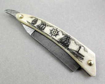 Scrimshaw Razor Damascus Blade Straight Edge Razor Nautical Scene  Sailing Ships Schooner Lighthouse Compass Rose Ox Bone Damascus Steel