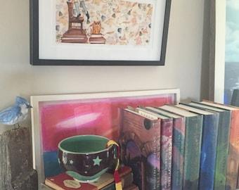 HERMIONE bookishly brave hermione framed art print original harry potter art limited edition crookshanks hogwarts book art faerie tale feet