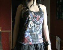 Marvel tank top halter neck upcycled small