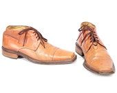 Vintage Mens ANKLE BOOTS Leather Whiskey Brown Lace Up Distressed Man Brogue Cap Toe Beige Shoes Booties Oxford size Men Us 8 Eur 41 UK 7.5