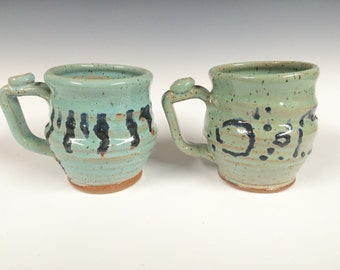2 turquoise mugs, Handmade mug, beer stein, for her, for him, Ready to ship