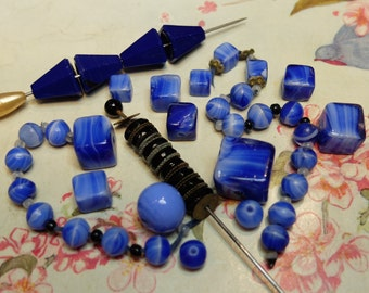 Antique Striped Glass Beads 1930s Supply Vintage Blue