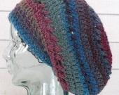 Multicolor Striped Blue, Red, Green, Gray, Purple Wool Boho Slouchy Hat