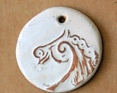 Rustic  Horse Ceramic Bead - Handmade Pendant Bead in Neutral with Extra Large Hole - Jewelry Supplies