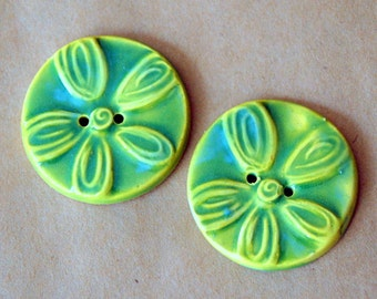 2 Big and Bold Handmade Ceramic Buttons - Bold Light Green Spring Daisies