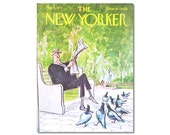 New Yorker Magazine Cover ONLY Vintage Original artist Saxon 5-8-71 Pigeons in the Park  CONDITION  ISSUES