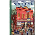 New Yorker Magazine Original COVER ONLY artist Karasz 5-6-39 Sping at Gardening Feed Seed Store Baby Chicks